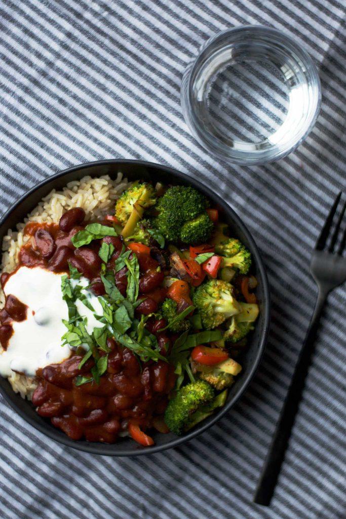 Ris Stegte Grøntsager Og Chili Beans Plantebaserede Opskrifter Af